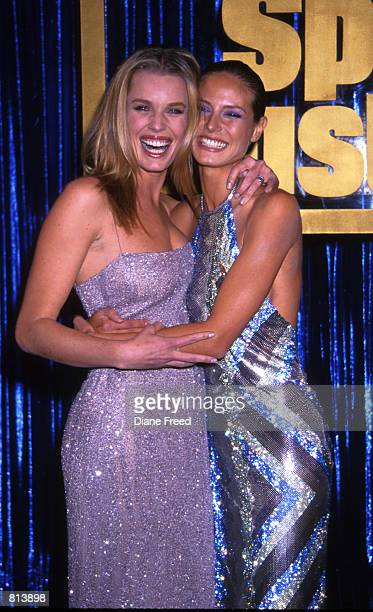 Heidi Klum and Rebecca Romijn Stamos at the Sports Illustrated Swimsuit Edition launch party at Supper Club in New York City February 9 1999