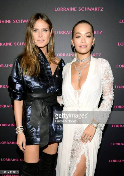 Heidi Klum and Rita Ora attend Lorraine Schwartz launches The Eye Bangle a new addition to her signature Against Evil Eye Collection at Delilah on...