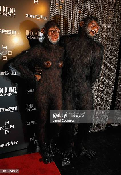 Heidi Klum and Seal attend Heidi Klum's 12th annual Halloween party at the PHD Rooftop Lounge at Dream Downtown on October 31 2011 in New York City