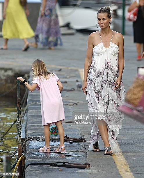 Heidi Klum and Seal on holiday with their kids Leni, Henry, Joahn and Lou and Heidi Klum's parents Erna and Gunther on August 4, 2010 in Portofino,...