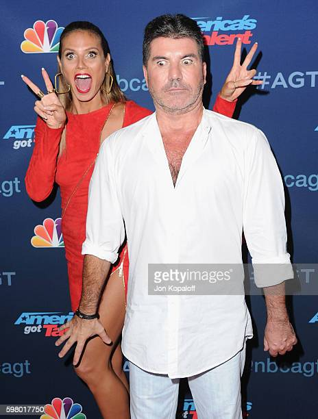 Heidi Klum and Simon Cowell arrive at 'America's Got Talent' Season 11 Live Show at Dolby Theatre on August 30 2016 in Hollywood California