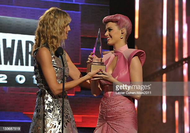 Heidi Klum and singer Katy Perry onstage at the 2011 American Music Awards held at Nokia Theatre L.A. LIVE on November 20, 2011 in Los Angeles,...