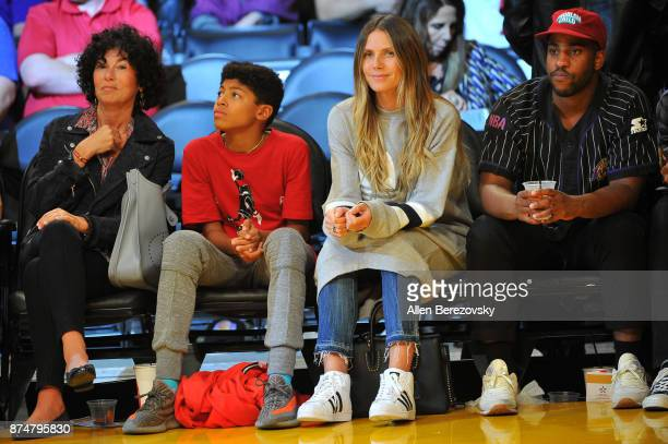 Heidi Klum and son Henry attend a basketball game between the Los Angeles Lakers and the Philadelphia 76ers at Staples Center on November 15 2017 in...