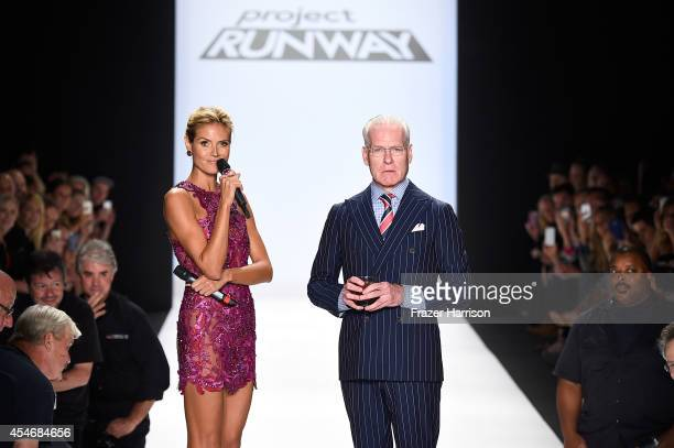 Heidi Klum and Tim Gunn walk the runway at the Project Runway fashion show during MercedesBenz Fashion Week Spring 2015 at The Theatre at Lincoln...