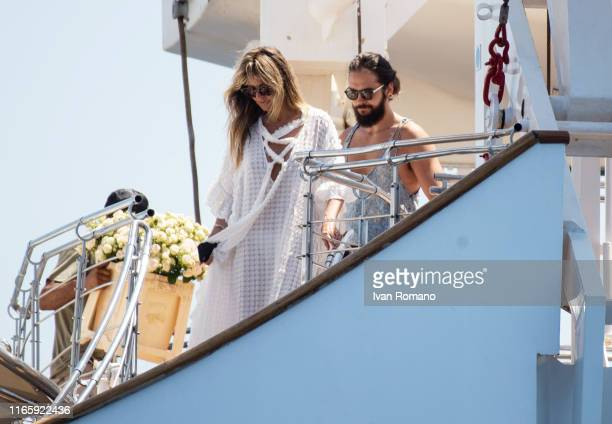 Heidi Klum and Tom Kaulitz are seen on the Christina O. Yacht on their wedding day on August 03, 2019 in Capri, Italy.