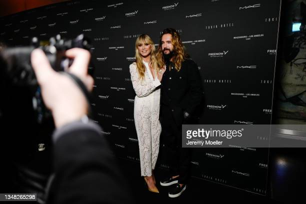 Heidi Klum and Tom Kaulitz seen backstage during the Tokio Hotel New Album Release Party on October 22, 2021 in Berlin, Germany.