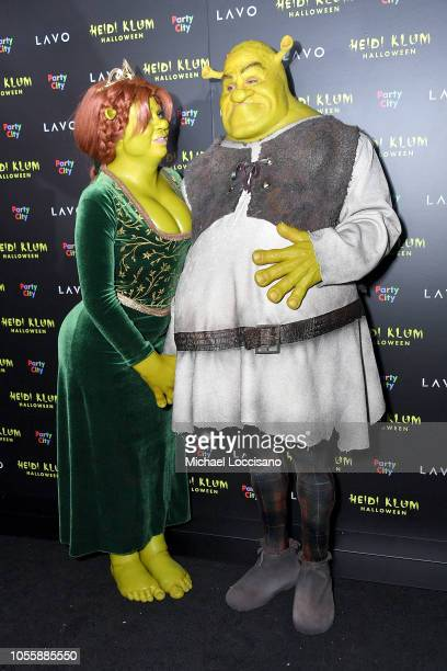 Heidi Klum and Tom Kaulitz show up dressed as Princess Fiona and Shrek to Klum's 19th Annual Halloween Party at Lavo on October 31 2018 in New York...