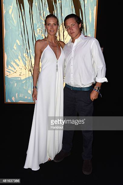 Heidi Klum and Vito Schnabel attend a cocktail reception during The Leonardo DiCaprio Foundation 2nd Annual SaintTropez Gala at Domaine Bertaud...