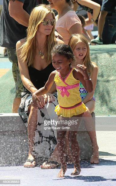 June 21: Heidi Klum and with her children Leni Samuel and Lou Samuel are seen on June 21, 2013 in New York City.