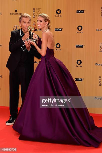 Heidi Klum and Wolfgang Joop pose with her award at the Bambi Awards 2015 winners board at Stage Theater on November 12 2015 in Berlin Germany