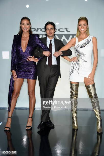 Heidi Klum and Zac Posen pose with Heidis wax figure on the set of Project Runway at Gum Studios on September 8 2017 in the Long Island City...