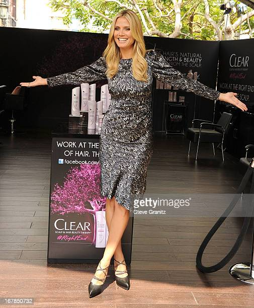 Heidi Klum appears at The Grove in Los Angeles to lead the Right End Hair Revolution a movement sparked by Clear Scalp Hair Beauty Therapy on May 1...