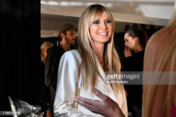 Heidi Klum appears backstage at TRESemme x Christian Siriano show during NYFW on February 06, 2020 in New York City.