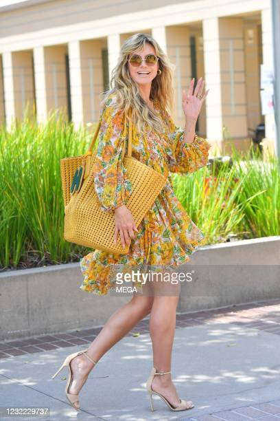 "Heidi Klum arrives at ""America's Got Talent"" filming on April 10, 2021 in Los Angeles, California."