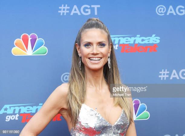 Heidi Klum arrives at America's Got Talent season 13 event held at Pasadena Civic Auditorium on March 12 2018 in Pasadena California