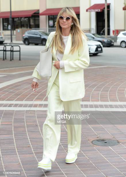 Heidi Klum arrives at an 'America's Got Talent' taping on April 23, 2021 in Los Angeles, California.