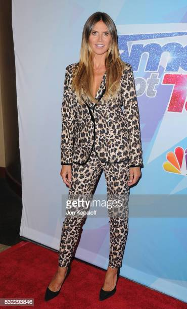 Heidi Klum arrives at NBC's America's Got Talent Season 12 Live Show at Dolby Theatre on August 15 2017 in Hollywood California