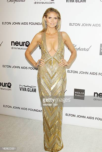 Heidi Klum arrives at the 21st Annual Elton John AIDS Foundation Academy Awards viewing party held at West Hollywood Park on February 24, 2013 in...