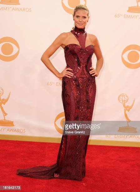 Heidi Klum arrives at the 65th Annual Primetime Emmy Awards at Nokia Theatre L.A. Live on September 22, 2013 in Los Angeles, California.