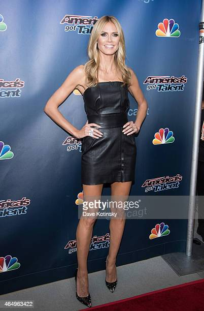 Heidi Klum arrives at the America's Got Talent Season 10 Red Carpet Event at New Jersey Performing Arts Center on March 2 2015 in Newark New Jersey