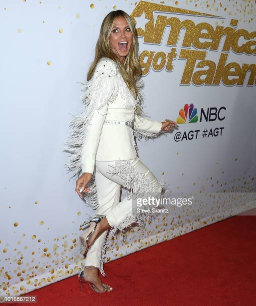 Heidi Klum arrives at the America's Got Talent Season 13 Live Show Red Carpet at Dolby Theatre on August 14 2018 in Hollywood California