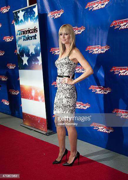 Heidi Klum arrives at the America's Got Talent Season 9 Photo Call at New Jersey Performing Arts Center on February 20 2014 in Newark New Jersey