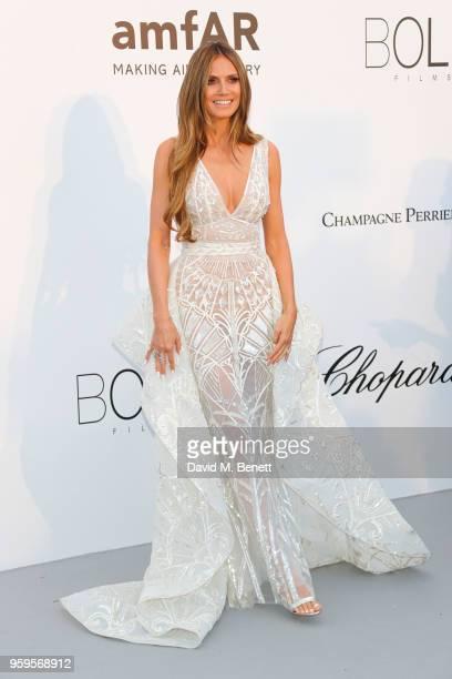 Heidi Klum arrives at the amfAR Gala Cannes 2018 at Hotel du Cap-Eden-Roc on May 17, 2018 in Cap d'Antibes, France.
