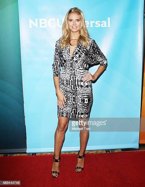 Heidi Klum arrives at the NBCUniversal's 2014 Summer Press Day held at Langham Hotel on April 8, 2014 in Pasadena, California.