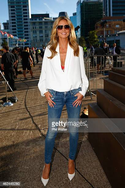 Heidi Klum arrives for the 2015 NRL season launch at Shed 10 on January 29 2015 in Auckland New Zealand