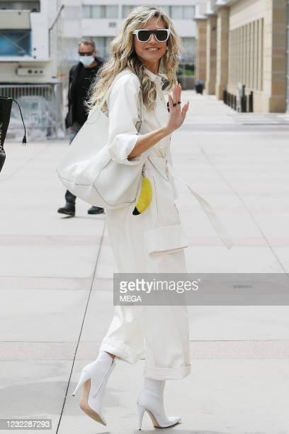 "Heidi Klum arriving to film ""America's Got Talent"" on April 12, 2021 in Los Angeles, California."
