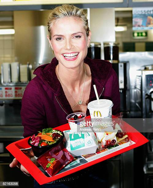 Heidi Klum attends a photocall to kick off her cooperation with McDonalds at a restaurant in Hamburg on February 9, 2004 in Hamburg, Germany.