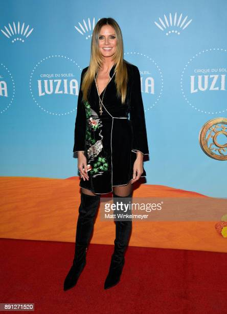 Heidi Klum attends Cirque du Soleil presents the Los Angeles premiere event of 'Luzia' at Dodger Stadium on December 12 2017 in Los Angeles California
