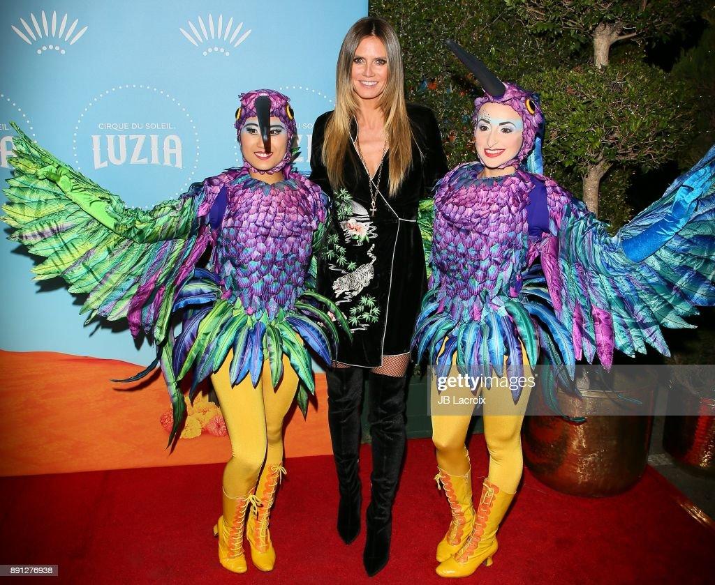 Heidi Klum attends Cirque du Soleil presents the Los Angeles premiere event of 'Luzia' at Dodger Stadium on December 12, 2017 in Los Angeles, California.