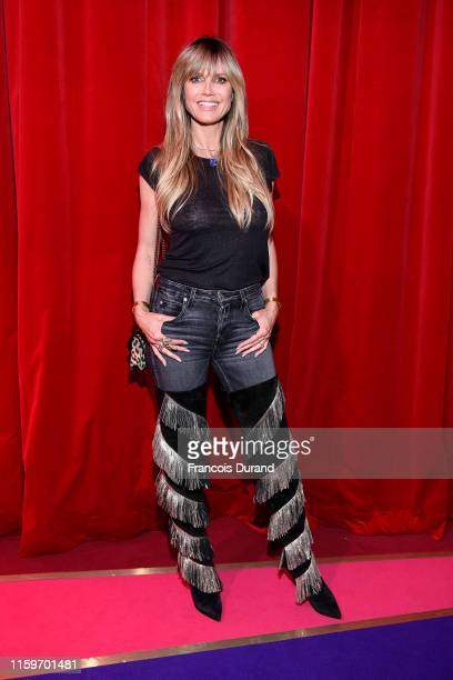 Heidi Klum attends Loubhoutan Express presentation at La Garde Republicaine on July 02, 2019 in Paris, France.