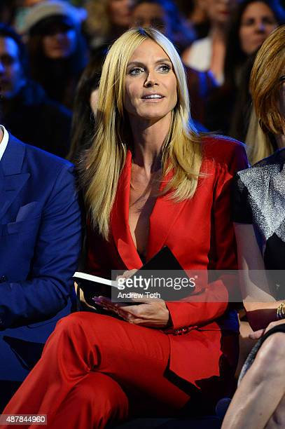 Heidi Klum attends Project Runway show during Spring 2016 New York Fashion Week The Shows at The Arc Skylight at Moynihan Station on September 11...