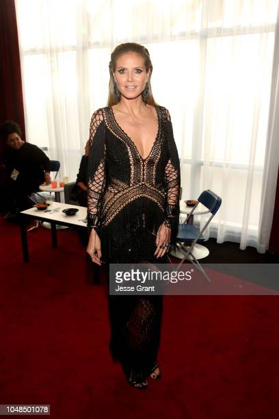 Heidi Klum attends the 2018 American Music Awards VIP Lounge presented by Aviation American Gin at Microsoft Theater Gold Ballroom on October 9 2018...