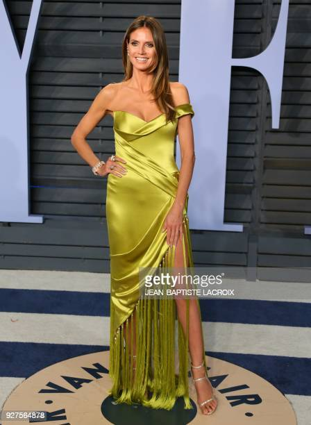 Heidi Klum attends the 2018 Vanity Fair Oscar Party following the 90th Academy Awards at The Wallis Annenberg Center for the Performing Arts in...