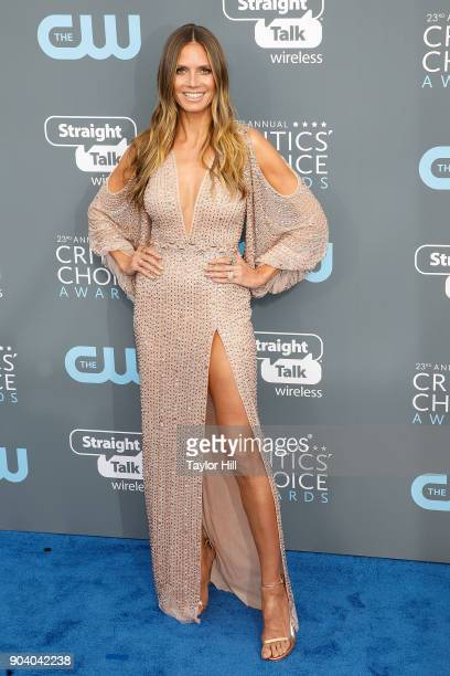 Heidi Klum attends the 23rd Annual Critics' Choice Awards at Barker Hangar on January 11 2018 in Santa Monica California