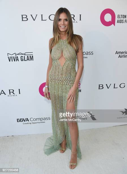 Heidi Klum attends the 26th annual Elton John AIDS Foundation Academy Awards Viewing Party sponsored by Bulgari celebrating EJAF and the 90th Academy...