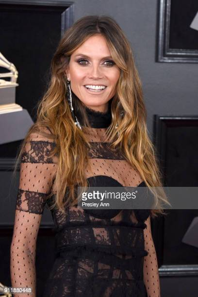 Heidi Klum attends the 60th Annual GRAMMY Awards Arrivals at Madison Square Garden on January 28 2018 in New York City