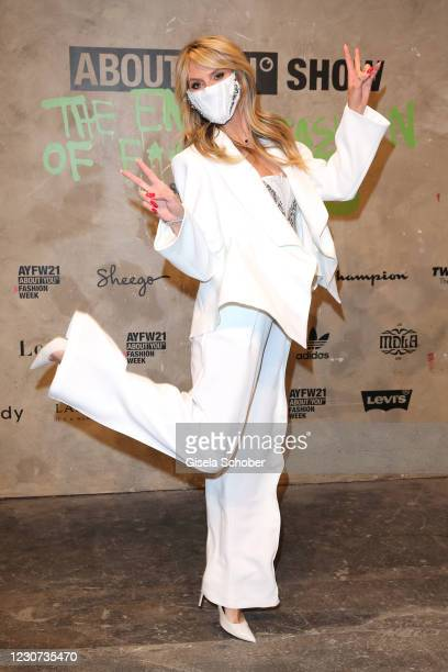Heidi Klum attends the ABOUT YOU fashion week, AYFW, show production at Kraftwerk on January 22, 2021 in Berlin, Germany.