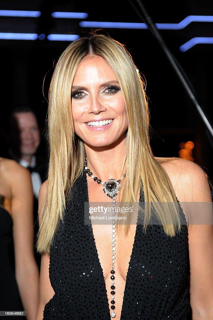 Heidi Klum attends the amfAR New York Gala to kick off Fall 2013 Fashion Week at Cipriani Wall Street on February 6, 2013 in New York City.