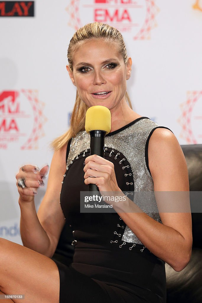 Heidi Klum attends the photocall ahead of the MTV EMA's 2012 at Frankfurt City Hall on November 10, 2012 in Frankfurt am Main, Germany.
