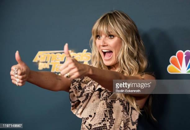 "Heidi Klum attends the Premiere of NBC's ""America's Got Talent: The Champions"" Season 2 at Sheraton Pasadena Hotel on October 10, 2019 in Pasadena,..."
