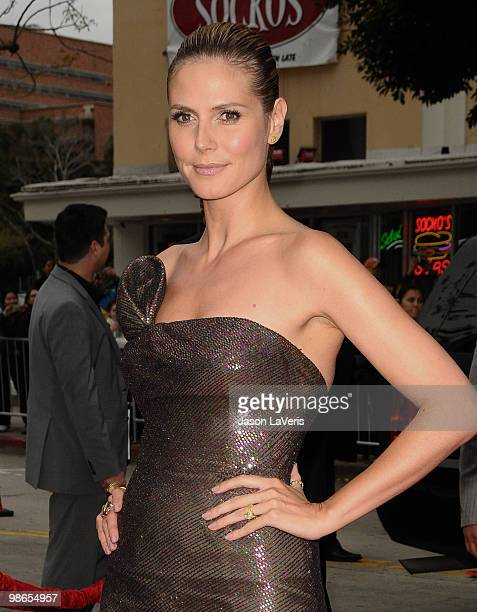 """Heidi Klum attends the premiere of """"The Back-Up Plan"""" at Regency Village Theatre on April 21, 2010 in Westwood, California."""