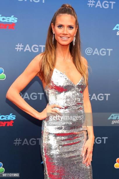 Heidi Klum attends the red carpet kickoff for America's Got Talent season 13 at Pasadena Civic Auditorium on March 12 2018 in Pasadena California