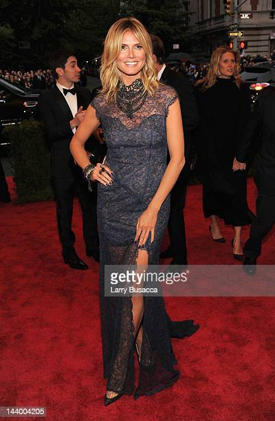 Heidi Klum attends the Schiaparelli And Prada Impossible Conversations Costume Institute Gala at the Metropolitan Museum of Art on May 7 2012 in New...
