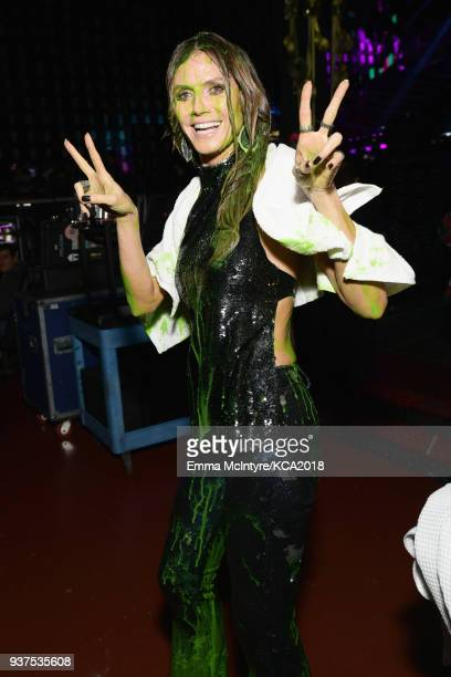 Heidi Klum backstage at Nickelodeon's 2018 Kids' Choice Awards at The Forum on March 24 2018 in Inglewood California