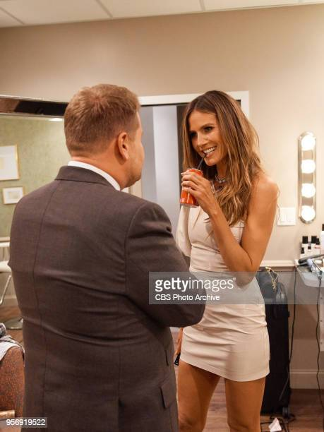 Heidi Klum chats in the green room with James Corden during 'The Late Late Show with James Corden' Wednesday May 9 2018 On The CBS Television Network