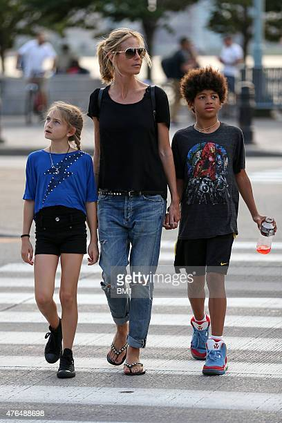 Heidi Klum enjoys summer in New York strolling with her children Leni and Henry on June 9 2015 in New York City